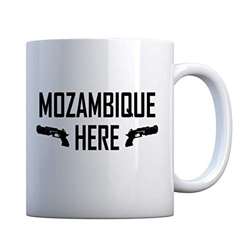 Taza Mozambique Here de 325 ml, color blanco perla
