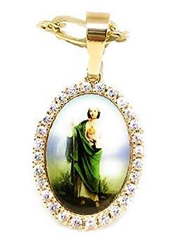 Gold Plated Saint Jude Pendant Necklace Figro 26  San Judas Tadeo Medalla Oro Laminado Figaro