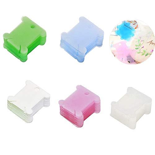 Bobinas de Hilo de Plástico,100 Piezas Tarjetas Organizadoras de Hilo de Bordar para Accesorios de Máquina de Coser,5 Colores Surtidos