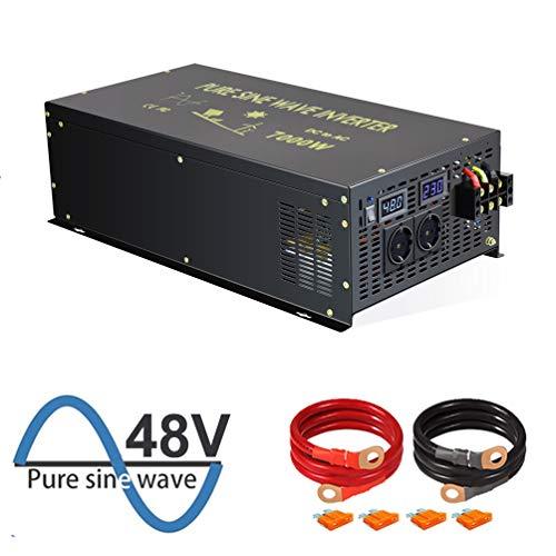 WZRELB 7000W Reiner Sinus-Wechselrichter 48V DC bis 230V 240V AC mit deutschem Standardstecker für Haushaltsgeräte Sonnensystem RV Camping für Wohnmobile, Autos, Camping, Reisen(7000w48V)