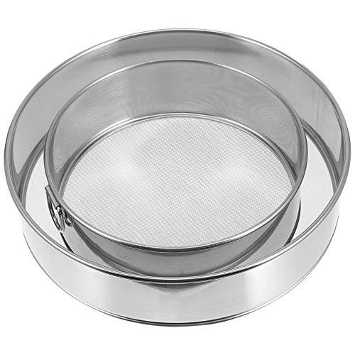 Yardwe Colador redondo de harina de acero inoxidable, colador de harina con aro plateado (20 cm + 30 cm)