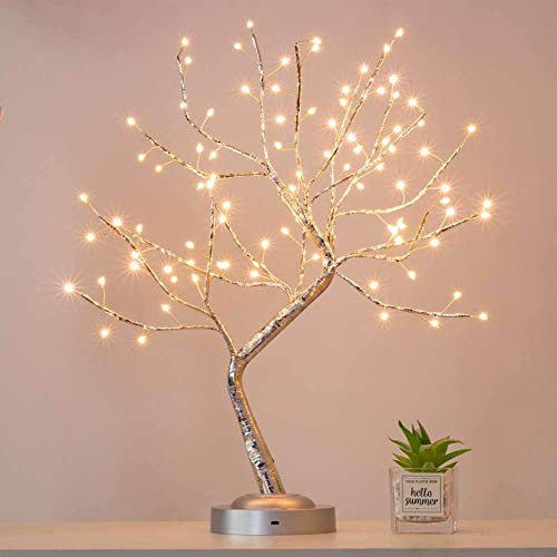 FuChsun Bonsai Tree Light 90 LED Warm White Silver Branches Battery and USB Operated (Warm White Glow )