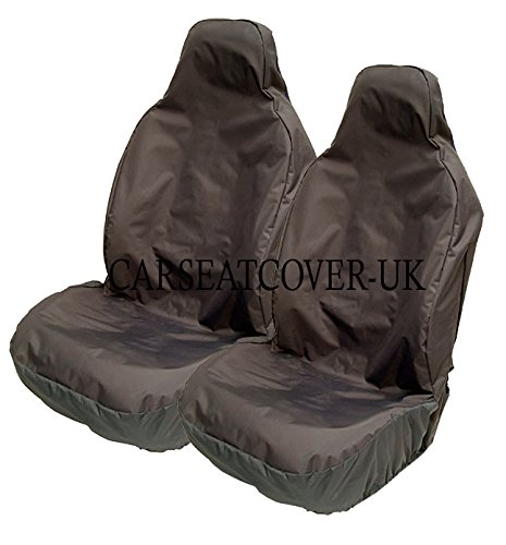 Carseatcover-UK Front Pair of BLKWPFP1000 HEAVY DUTY Black Waterproof Car Seat Covers - Universal Fit [Airbag Friendly]