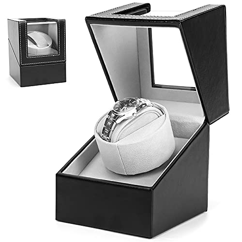 Gifort Caja de enrollador de Reloj automático, Caja de Reloj de Cuero Single Watch enrollador PU con Motor silencioso, Alimentado por batería o Adaptador de CA (Negro)