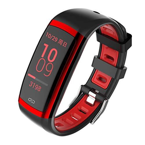 HHJEKLL Intelligentes Armband Smart Wristband Cicret Band Uhr Pulsmesser Smartband Pulsometer Sport Gesundheit Fitness Armband Tracker für IOS, Rosy