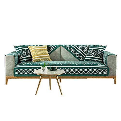 Cojín de sofá con diseño de Jacquard geométrico Resistente a Las Manchas,Funda de sofá Gruesa para niños,Perros,Mascotas,Verde Oscuro,70 * 120