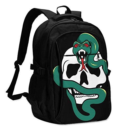 XCNGG Snake and Skull Travel Laptop Mochila College School Bag Mochila Informal con Puerto de Carga USB
