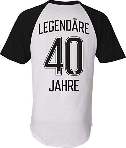 Camiseta: Legendäre 40 años – Cumpleaños – Año 1980 – Camiseta – Regalo de cumpleaños – Fútbol – Deporte – Hombres Mujeres – Mujer Hombre – Divertido – Estadio – Fan Blanco – año 1980 XXL