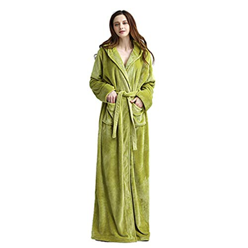 N-B Winter Extra Long Warm Thick Hooded Bathrobe Women/Men Sexy Long Sleeve Ankle Bath Robe Unisex Dressing Gown Female
