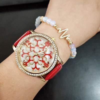 TCEPFS 2pcs Frauen Leder Blume Gesicht Armbanduhren mit Zirkon Schmuck blau Achat Perlen Armband Set mit Geschenk Uhrenbox Hot Stylerot
