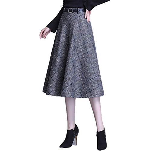 ERTYUIO Falda Corta Faldas Midi A Cuadros OL Lady Falda Larga Profesional para Mujeres Jóvenes Faldas A Cuadros Plisadas De Talla Grande De Cintura Alta