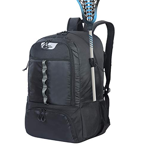 G GATRIAL Lacrosse Backpack Extra Large Field Hockey Bag Holds All Lacrosse Equipment Two Stick Holders and Separate Cleats Compartment Black