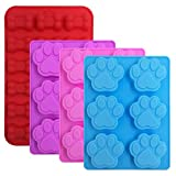 FineGood 4 Pcs Silicone Candy Chocolate Molds, Puppy Dog Paw & Bone Shaped Ice Cube Trays Cookies Baking Pans for Making Frozen Dog Treats Soap Bars - Red, Blue, Purple, Pink