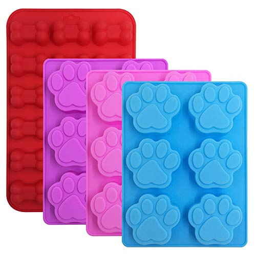 4 Pcs Silicone Candy Chocolate Molds, FineGood Puppy Dog Paw & Bone Shaped Ice Cube Trays Cookies Baking Pans for Making Frozen Dog Treats Soap Bars - Red, Blue, Purple, Pink