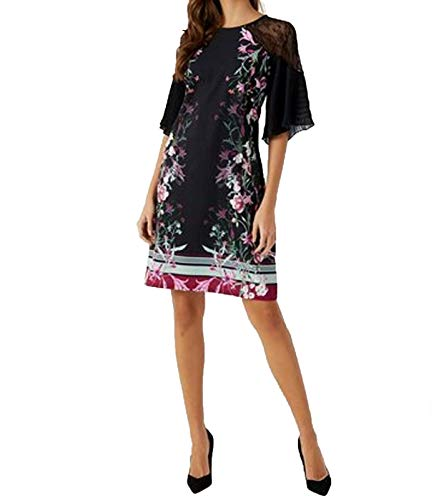 Lipsy London Party-Kleid geblümtes Damen Cocktail-Kleid mit Spitzen-Ärmeln Abend-Kleid Mode-Kleid Schwarz, Größe:40