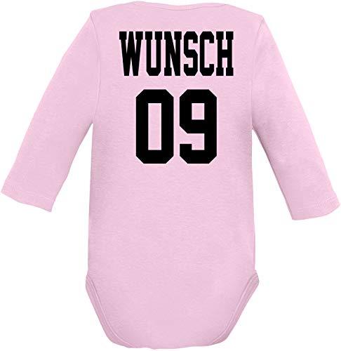 EZYshirt® Wunschname & Nummer für Babys | Personalisiere Dein Body Baby Langarm Bio Baumwolle