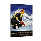 Garmisch Partenkirchen Ski-Poster, dekoratives Gemälde,