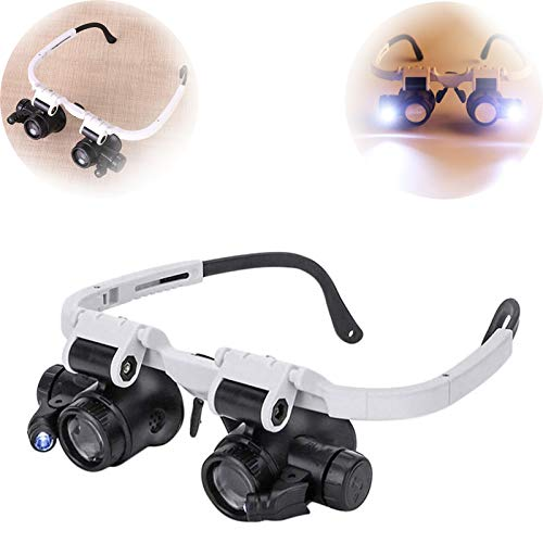 Adjustable headband magnifying glass with LED light 8X 15 X 23 magnifying goggles For close work, jewelry, jewelers, sewing, crafts, hobbies, coins, maps, watch repairs
