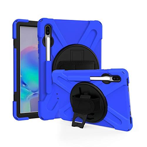 IVY 360 Degrees KickBracelete Caso Capa para Samsung Galaxy Tab S6 10.5 2020 (SM-T860/T865/T867) Bracelete Caso with Faixa Wrist,Distância do ombro and Pencil Holder - Blue
