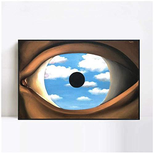 wzgsffs Il Falso Specchio 1928 di Rene Magritte su Tela Pittura di Arte della Parete Immagine per Soggiorno SalottoDecorazione della casa -60x80 cm Senza Cornice