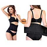 Emoly Upgraded Waist Trainer Belt Unisex Waist Trimmer for Weight Loss,Back and Posture Support Exercise Girdle Workout Sauna Belt,Black Size L