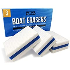 REMOVES MARKS & DIRT: Our premium boat eraser sponge quickly and effectively remove dirt, grime, grease, mud, scum, and scuffs from the deck, console and seats of your boat. They are essential to a boat detailing kit and are the perfect tool to keep ...