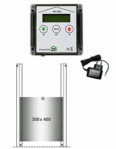 JOSTechnik JT-HK Entenklappe automatisch mit Zeitschaltuhr 300 x 450 mm und echter Nothaltefunktion