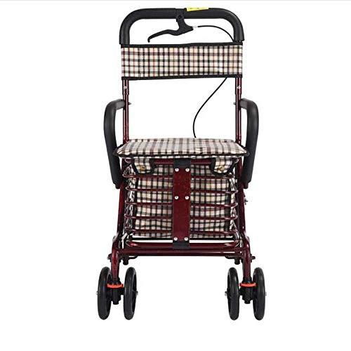LLDKA trolleys, wagen en oud, draagbaar, tweewielig winkelmandje, oude klapstoel met wielen, step, veiligheid één handrem + klokken