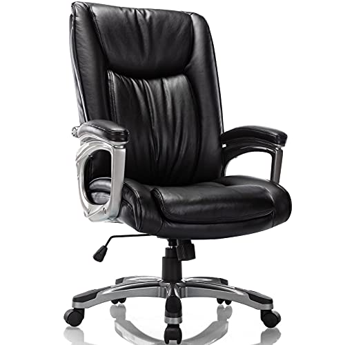RIMIKING Ergonomic Memory Foam Executive Office Chair - Adjustable Height Built-in Lumbar Support Tilt Angle Computer Desk Chair, Swivel Thick Padded for Comfort
