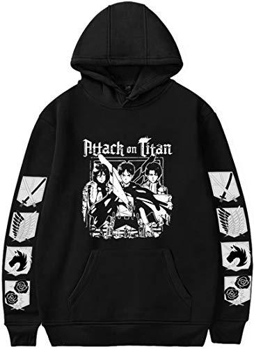 PANOZON Sudadera Hombre Attack on Titan Camiseta de Anime con Capucha Mangas Largas Ataque a los Titanes Series Unisex (XL, A-Negro 605-1)