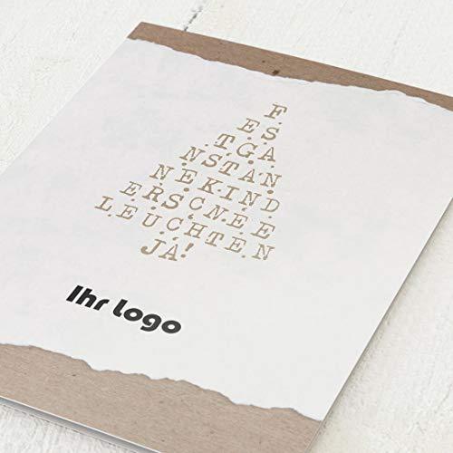 sendmoments Firmen-Weihnachtskarten im Set, personalisiert mit Ihrem Firmenlogo & -Text, Kalligraphie, 12 Klappkarten, wahlweise mit Veredelung in Gold, optional mit bedruckten Design-Umschlägen