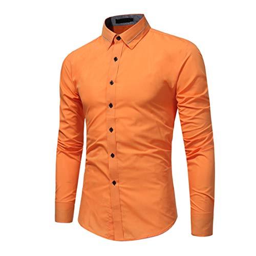Hemd Herren Tops Herren Casual Tastenart Comfortable Lightweight Fashion Business Casual Herren Hemd Herbst Neues Comfortable Slim Simple Temperament Herren Hemden E-Orange XXL