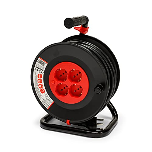VELAMP REEL-IT-25 Alargador eléctrico con enrollador de cable 4 tomas polivalentes (Schuko...