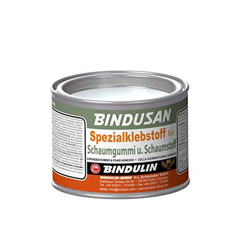 BINDUSAN von Bindulin Spezialklebstoff für Moltopren Schaumgummi Schaumstoff mit Holz Metall Stoff Pappe - Kleber Verklebungen sind weich, hochelastisch, wasser-, öl- und säurefest 350g