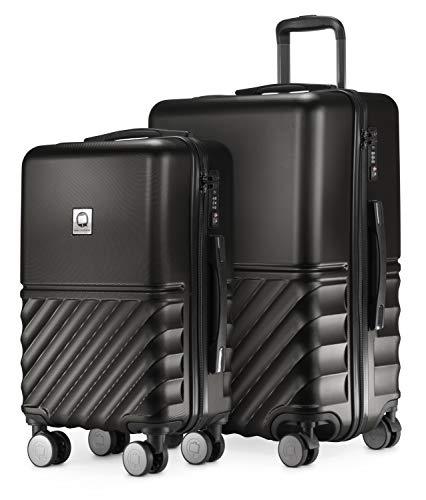 HAUPTSTADTKOFFER - Boxi - 2er Kofferset Trolley-Set Rollkoffer Reisekoffer Handgepäck und mittelgroßer Koffer (55/65 cm), ABS-Hartschale TSA, 4 Spinner-Doppelrollen, Schwarz