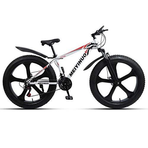 Bicicleta de montaña Fat Tire para hombre Ruedas de 26 pulgadas con 5 cuchillas Neumáticos de 4 pulgadas de ancho Marco de acero de 24 velocidades Frenos delanteros y traseros Múltiples colores,D