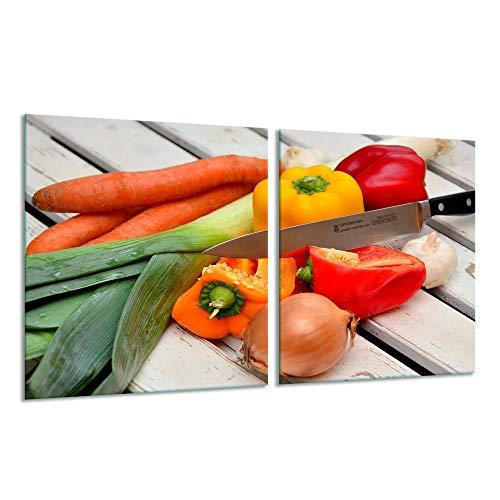Fornuis afdekplaat Ceranfeld 2-delig 2x40x52 groente bont kookplaten inductie