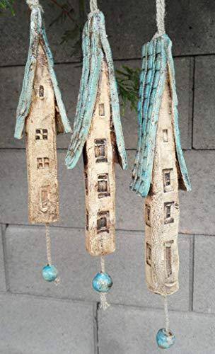 3 Keramik Windspiel Häuser blau beige Gartendeko Sommer