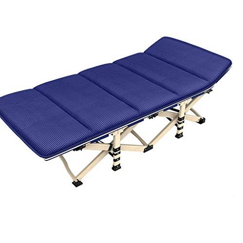 Lit Pliant Lit Simple Maison Lit de déjeuner Siesta Lounge Office, élargissant et Augmentant l'hiver et l'été Double Usage 5 Secondes Installation Gratuite Pliante (Bleu) (Taille : 190 * 75cm)