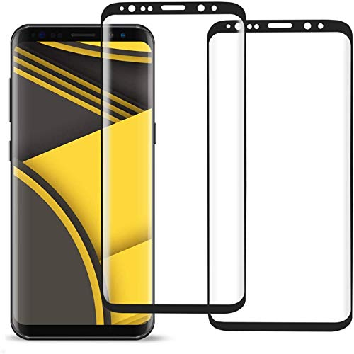 WHJC Galaxy S8 Panzerglas schutzfolie, [3 Stück] 3D Full Cover Panzerglasfolie für Galaxy S8,9H Härte,Anti-Kratzer, Anti-Fingerabdruck,Displayschutzfolie für Galaxy S8 (Schwarz)