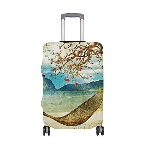 MyDaily Hängematte und Baum, Tropische Landschaftsgemälde, Gepäckabdeckung, passend für 45,7-81,3 cm Koffer, Spandex, Reiseschutz