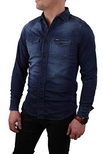 Diesel Herren Hemd Jeanshemd JoggJeans Sonora-NE Blau (XS, Blau)