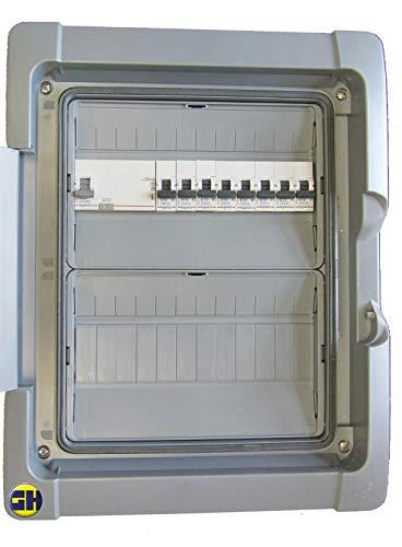 grenda-hammer® Feuchtraum-Verteiler 2-reihig mit verdrahteten Einbaugeräten und Überspannungsschutz