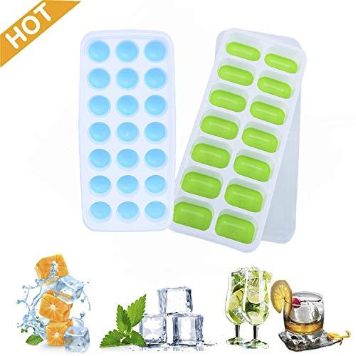 Iindes Silikon-Eiswürfelschale, 2er-Pack Eiswürfelformen LFGB-Zertifiziert und BPA-frei Silikon-Eiswürfelschalen mit Nicht verschüttetem Deckel für Gefrierschrank,Babynahrung,Wasser,Whiskey,Cocktail