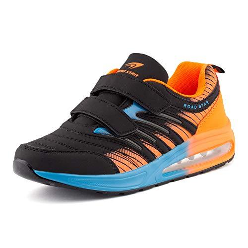 Fusskleidung Damen Herren Sportschuhe Klettverschluss Sneaker Dämpfung Neon Laufschuhe Runners Gym Unisex Schwarz Blau Orange EU 43