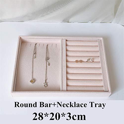 aolongwl Schmuckschatulle Pink Velvet Jewelry Ring Display Organizer Etui Tray Holder Halskette Ohrringe Armreif Aufbewahrungsbox Vitrine