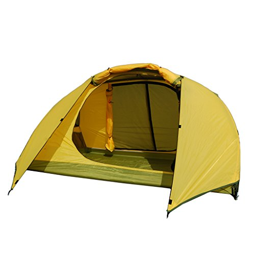 Zelt LINGZHIGAN Doppeldecker Vier-Jahreszeiten Camping Double Couple Outdoor Anti-Sturm Regen Ultra Light All-Inclusive (Farbe : Gelb)