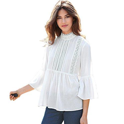 Blusa jaretas y guipur a Tono en el Delantero Mujer by Vencastyle - 007855,Blanco,XL