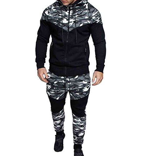 Men's Tracksuit Set Camouflage Sweatshirt Jogger Sweatpants Solid Patchwork Warm Sports Suit (Grey, L)