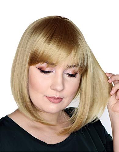Prettyland Perruque Moyenne naturels Bob Frange Raide Wig Cheveux Courte Raide Blonde Cendré C450